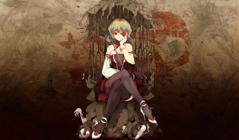 yuuka, kazami, flowers, роза, gothic, череп, blood, чулки, бабочка, корни, аниме, touhou,