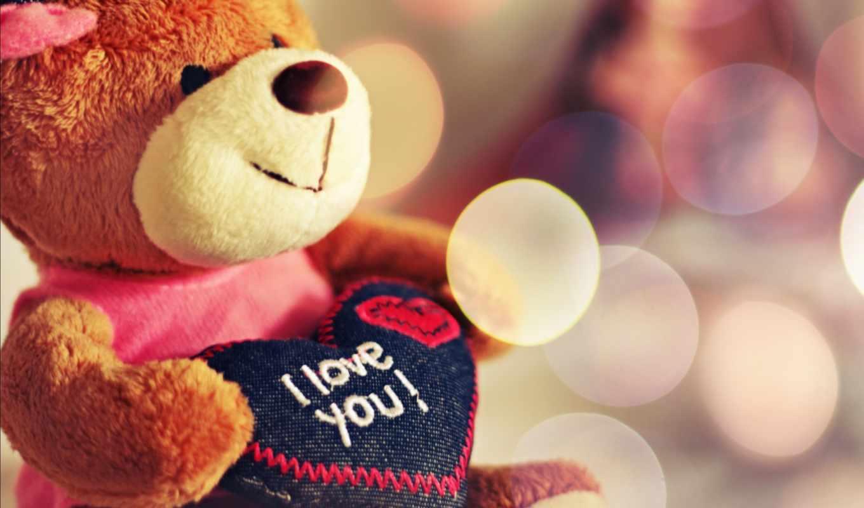 мишка, плюшевый, сердце, love, игрушка,