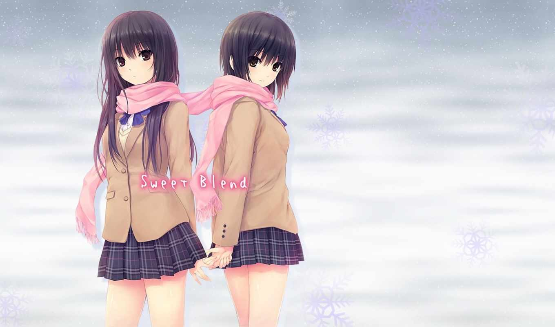 anime, coffee, kizoku, девушка, картинка, art, winter, rika, shiramine, униформа,