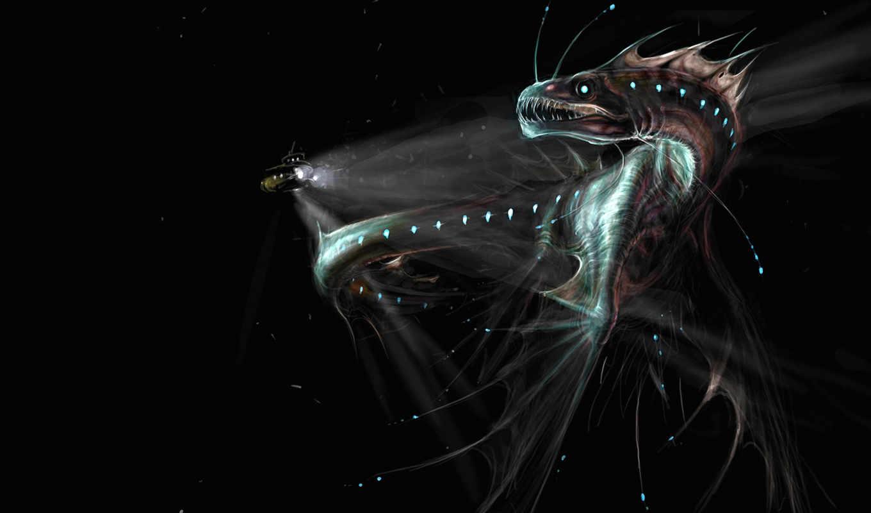 art, широкоформатные, water, под, высоком, fish, водой, подлодка, darkness,