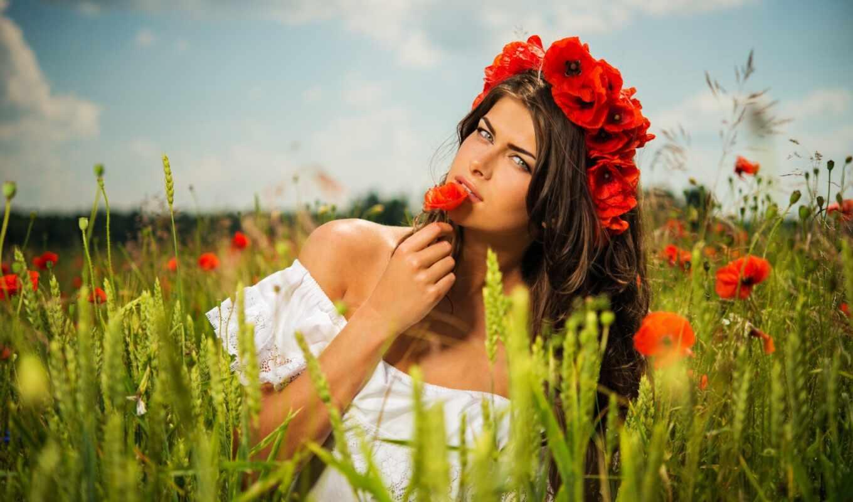 country, девушка, красивый, поле, который, женщина, маков, save
