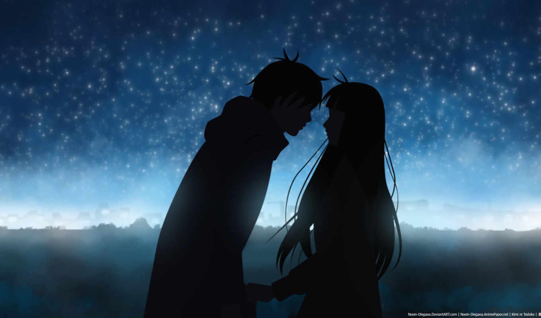 kimi, ni, todoke, двое, силуэты, wallpaper, смотрите, love, night, anime,