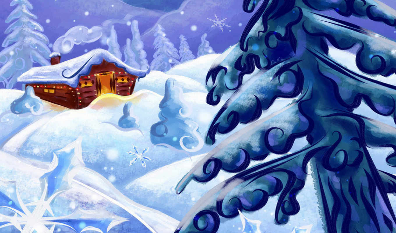 зима, снег, дом, рисунок, елка, christmas, new, year, image, peisaj, مشاهير, iarna, screensavers, craciun,