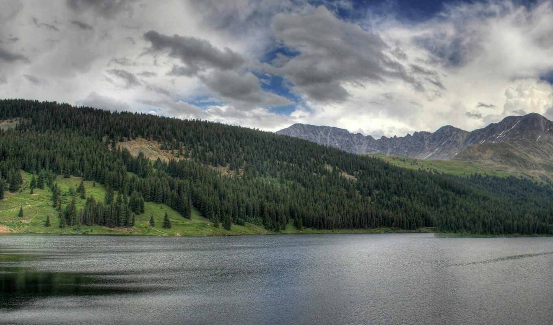 desktop, planet, lake, mountain, clouds,