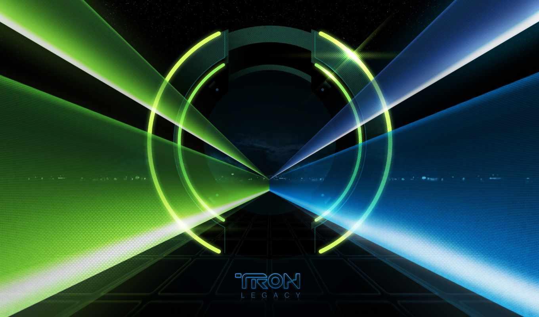 tron, legacy, синий, зелёный, лучи, ipad, desktop, tunnel,