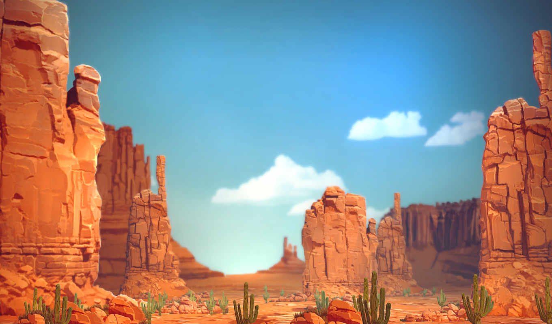 каньон, скалы, кактусы, landscape,