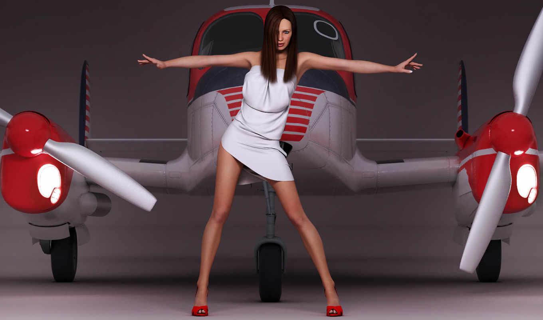 самолёт, девушка, ангар, жест, поза,