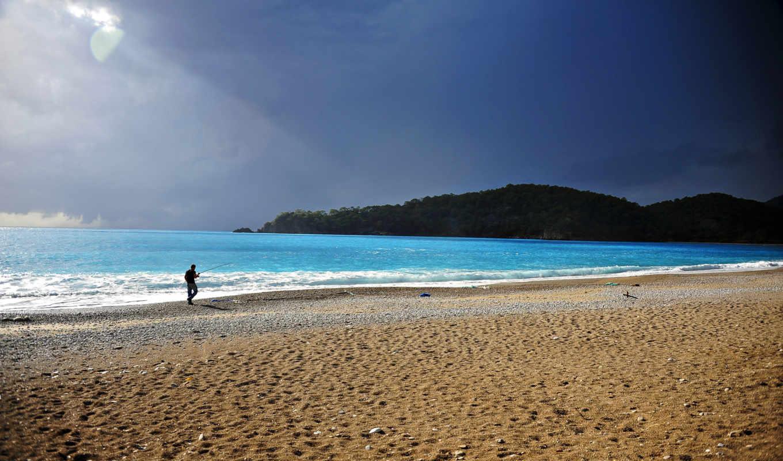 пляж, рыбак, vara, desktop, mac, планшетный, телефон,