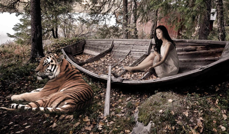 тигр, девушка, лодка, листва, опавшие,