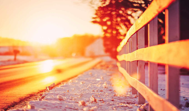 дорога, закат, природа, гитара, забор, landscape, снег, trees, sun,