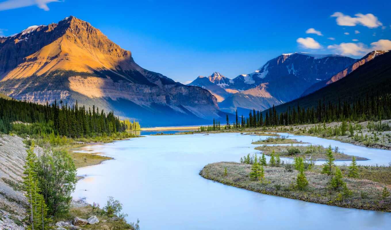 park, national, jasper, канада, гора, река, альберта, kanada, дерево, пейзаж, небо