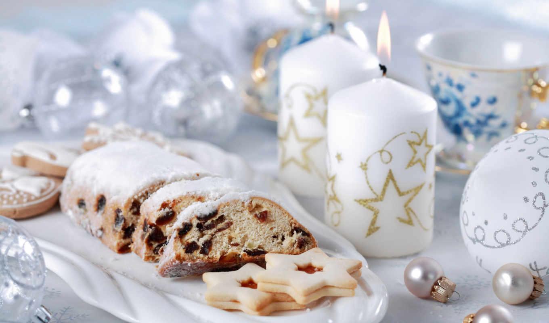 год, новый, шарики, свечи, рождество, чай, печенье,