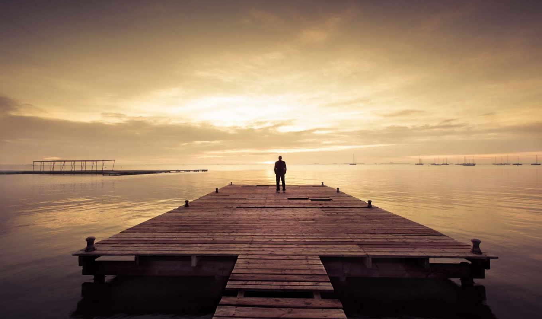 человек, озеро, закат,