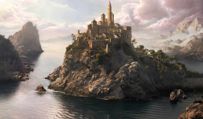 фэнтези, замок, море, город, фантазия, картинка, patrick, scenery, jensen, tags, art, острове,