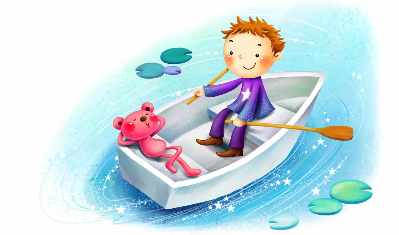 нарисованные, медвежонок, мальчик, лодка, весла, сон, вода, кувшинки, звездочки