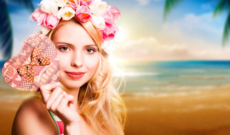 девушки, девушка, цветы, тюльпаны, сердце, фэнтези, белые, эротические, бабочки,