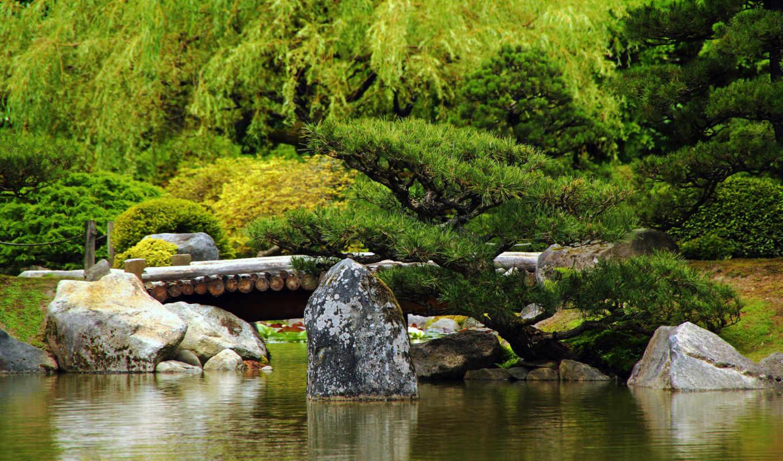japanese, garden, япония, мост, камень, water,