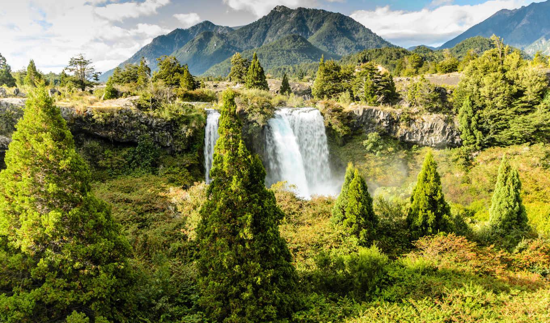 park, national, truful, conguillio, водопад, национальный, chile, водопад,