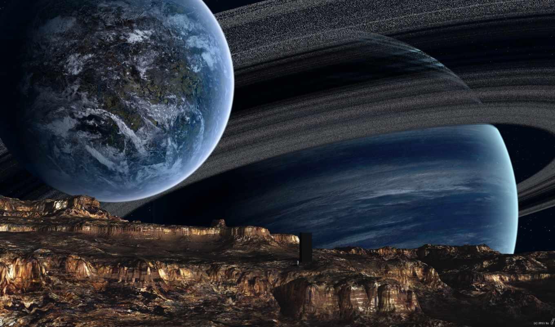 космос, outer, art, planet, газовый, digital, гигант, hoevelkamp,