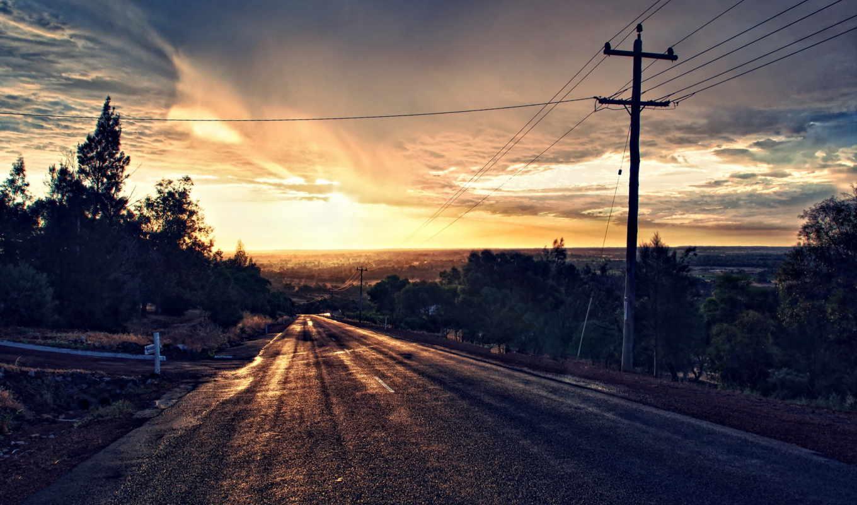 широкоформатные, дорога, закат, landscape, full,