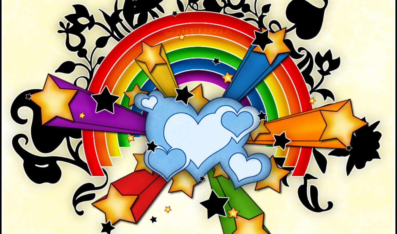 радуга, черви, stars, сердце, фон,