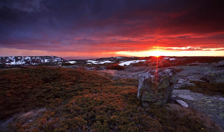 tundra, закат, пейзажи -, горы, камни, мох, oblaka,