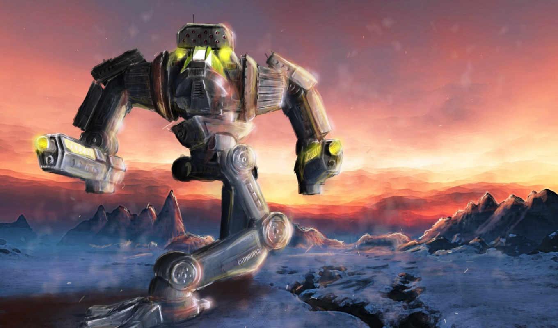 снег, пейзаж, робот,