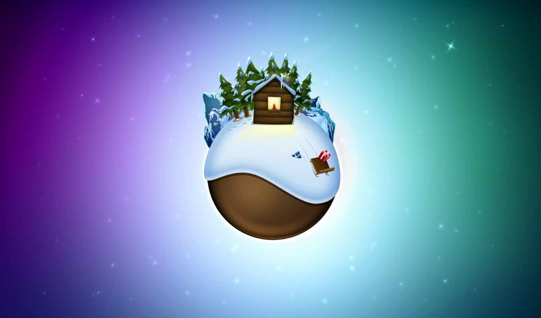 globe, новый, год, christmas, xmas, зима, планета, санки, desktop, дом,
