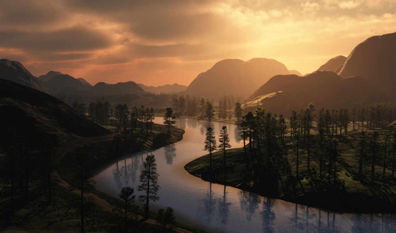горы, река, природа, закат, картинка, лес,