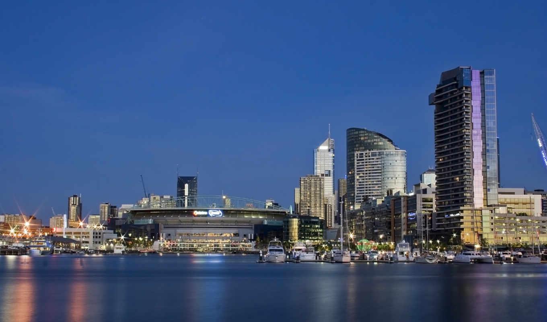 melbourne, австралия, небо, море, картинка, дома, вечер, городов, город,