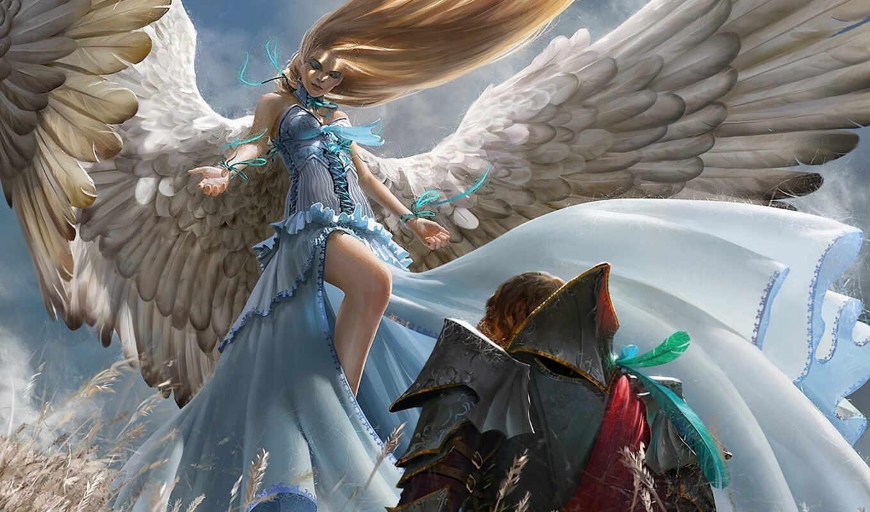 девушка, art, angel, воин, картинка, крылья, anime, мужчина,