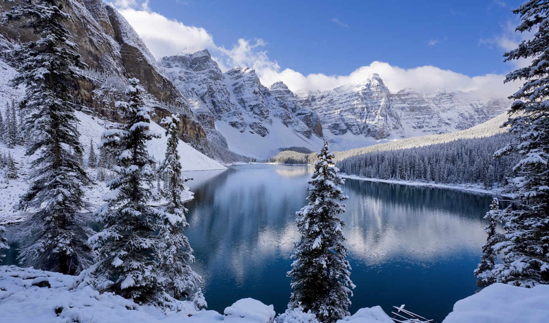 winter, озеро, года, вышивки, kumiko, зимние, landscape,