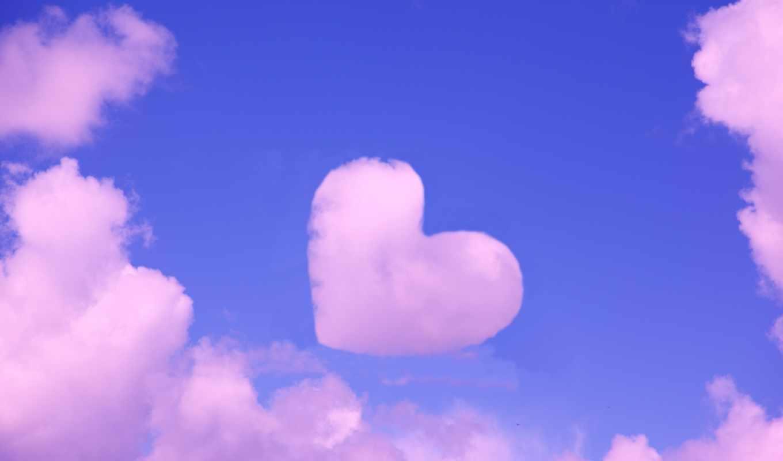 сердце, облако, небо, голубой, фотожаба
