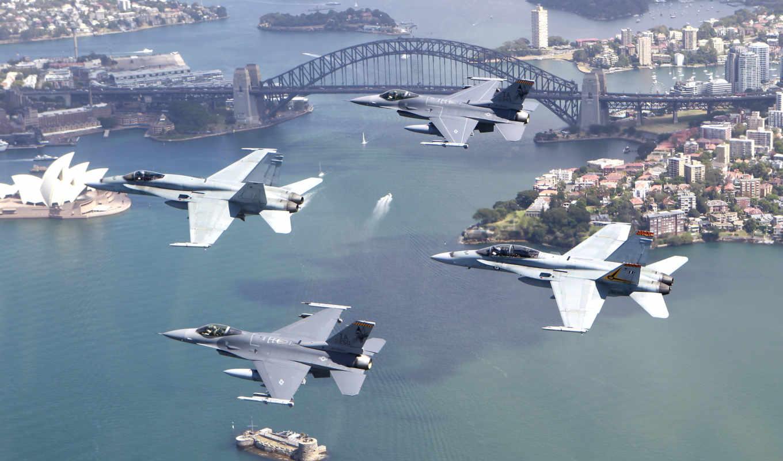 истребители, авиация, самолеты, полет, город, четверо, falcon, hornet, авианосец,  f16