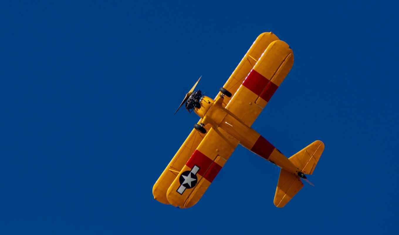 biplane, небо, yellow, авиация, plane, модель, free