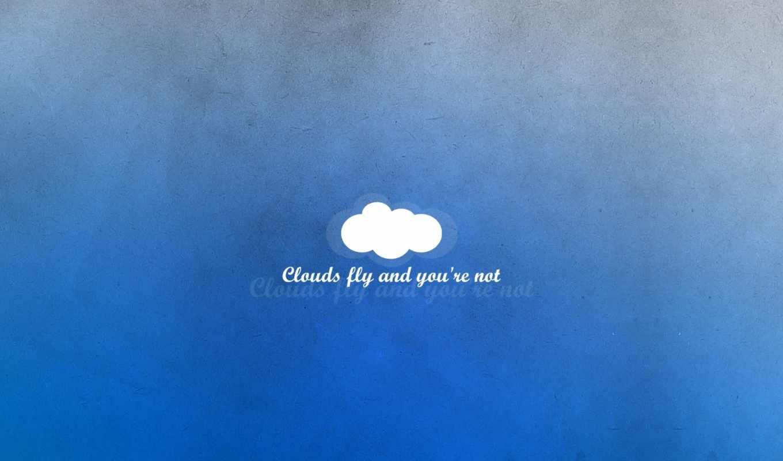 облако, голубой, минимализм, надпись, мысли, картинка,