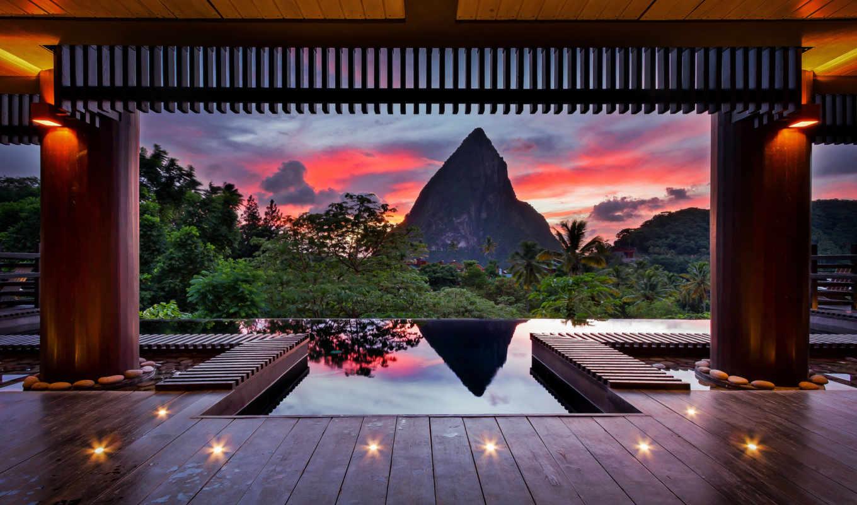 гора, вечер, лето, тропики, карибы, краски, небо, картинка, колонны, деревья, утес, навес,
