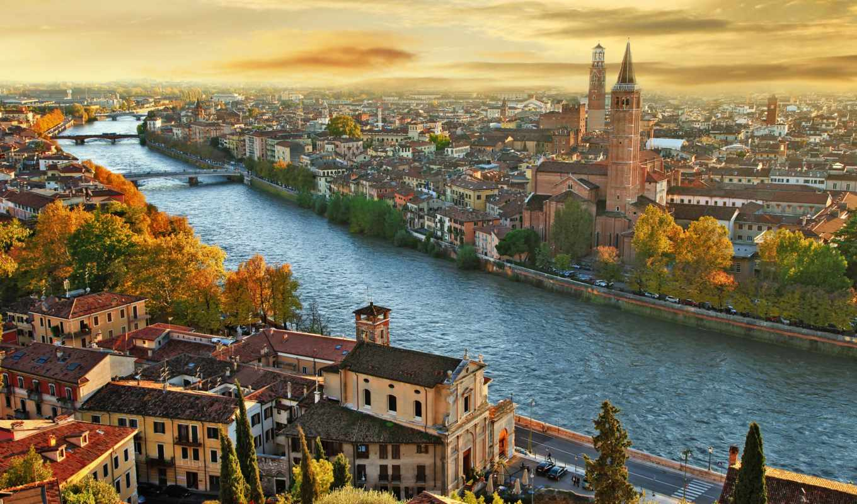 , италия, осень, река, мосты
