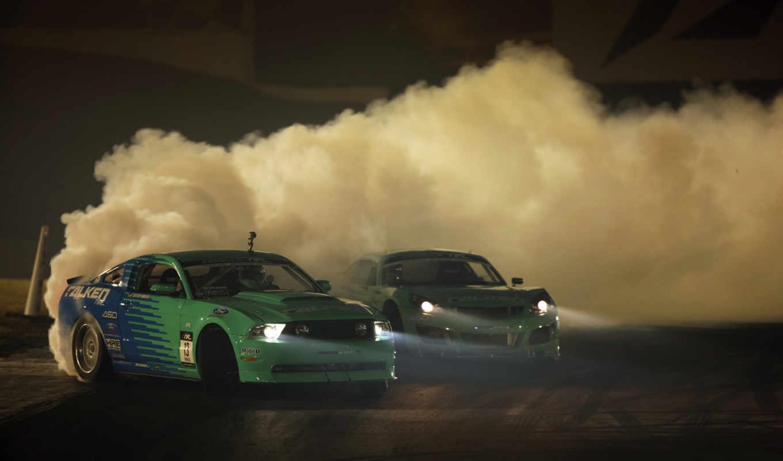 drift, машины, дым, пыль,