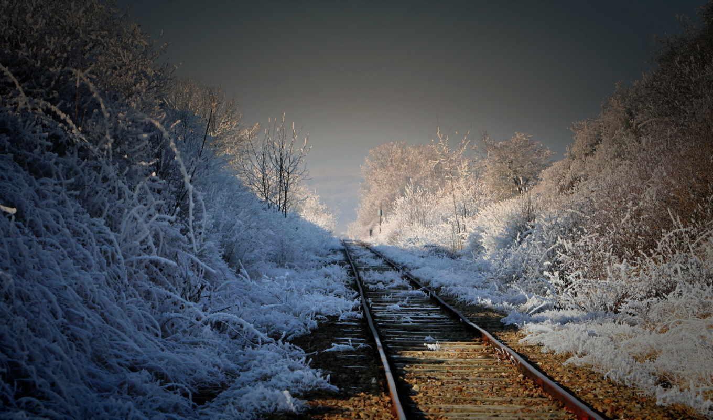 дорога, железная, landscape, утро,