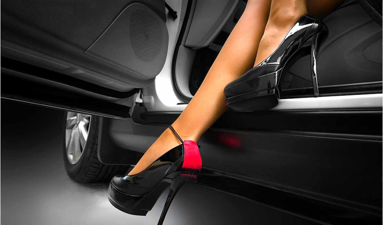 ножки, девушка, туфли, машина, девушки,