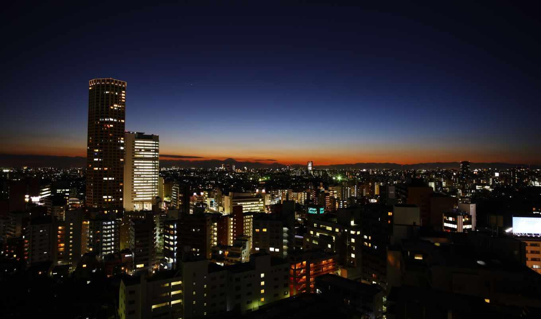 tokyo, город, ночь, япония, небо, дома, горы,