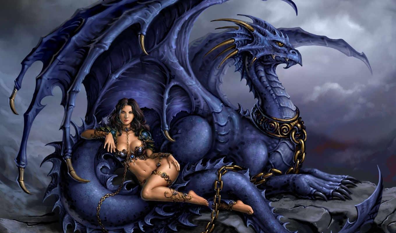 девушка, дракон, цепь, art, украшения, ошейник, candra, нов,