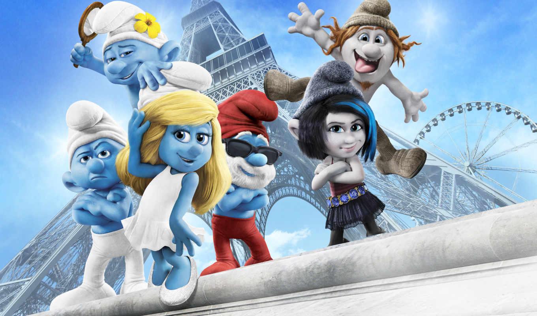 smurfs, movie, смурфики, desktop,