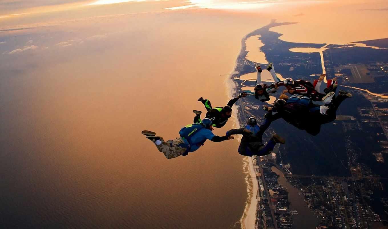 полет, прыжок, парашютисты, небо, море, land, панорама, круто, обоями, rewalls,