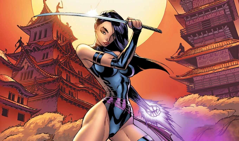 fantasy, marvel, меч, девушка, катана, asian, comics, art, artwork, psylocke