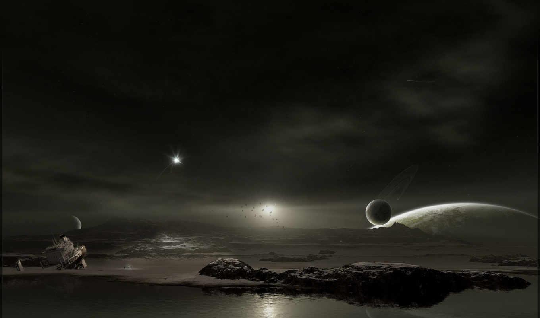 космос, планета, другая, вода, ecran, fond, корабль, dark, ce, edge, desktop, поверхность, планеты,