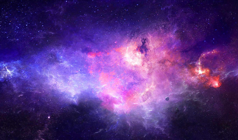 космос, туманность, планета, звезды, арт, номером, смотрите, монитора, экрана,