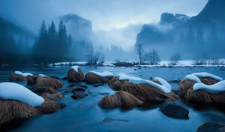 горы, вода, снег, туман, река, камни, national, картинку, картинка, geographic, мыши, кнопкой, twitter, view, download, пейзаж, frozen,