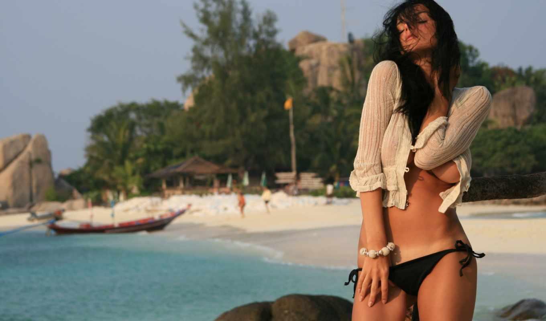 девушка, пляж, море, совершенно, девушки, категория,